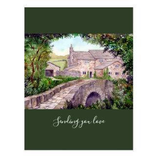 Stone Bridge Watercolor Painting Postcard