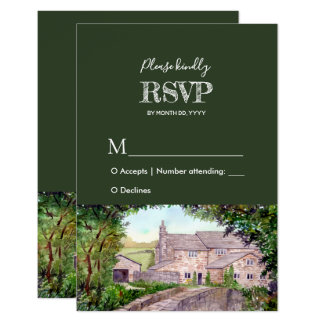 Stone Bridge Watercolor Wedding Response RSVP Card