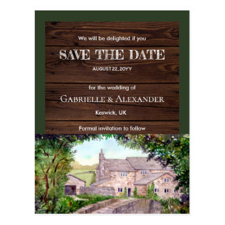 Stone Bridge Watercolor Wedding Save The Date Postcard