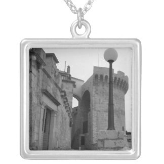Stone Buildings in Korcula Silver Plated Necklace