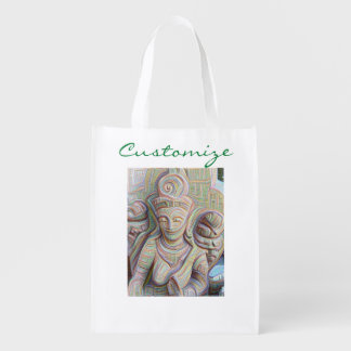 Stone carved dakinis reusable grocery bag