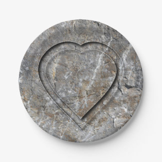 Stone carved heart Bride and Groom Paper Plate