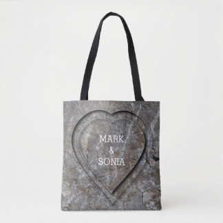 Stone carved heart Bride and Groom Tote Bag
