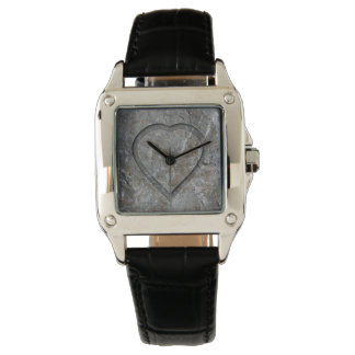 Stone carved heart Bride and Groom Watch