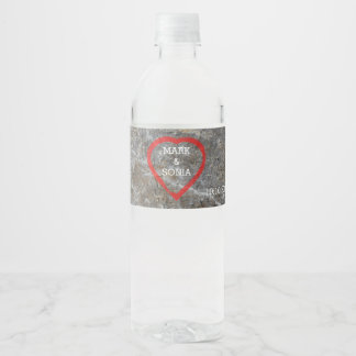 Stone carved heart Bride and Groom Water Bottle Label