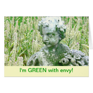 STONE CHERUB WITH MOSS/GREEN WITH ENVY/CONGRATULAT CARD