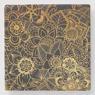 Stone Coaster Floral Doodle Gold G523