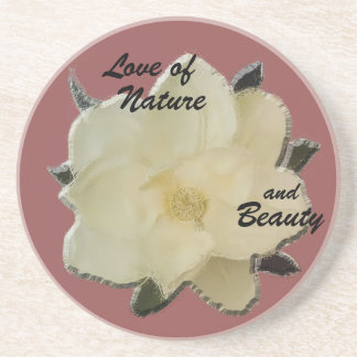 "Stone Coaster-Magnolia ""Love of Nature and Beauty"" Drink Coasters"