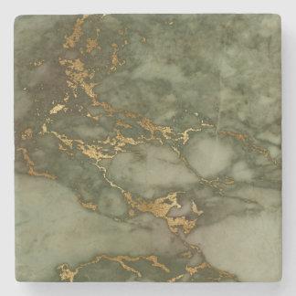 Stone Coaster Marble Green Gold Metallic