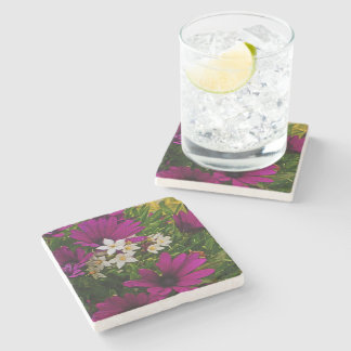 STONE COASTER WITH PURPLE AND WHITE FLOWERS