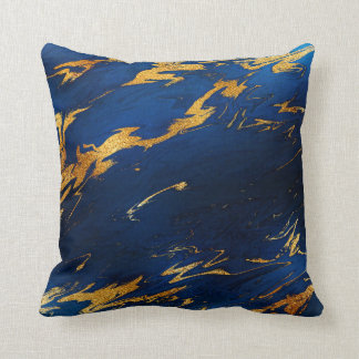 Stone Cobalt Blue Earth Tones Gold Marble Throw Pillow