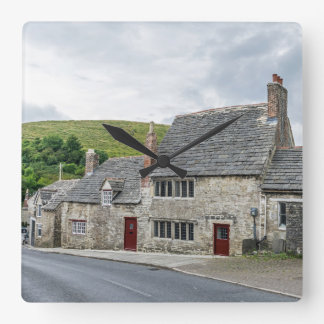Stone cottages wall clock