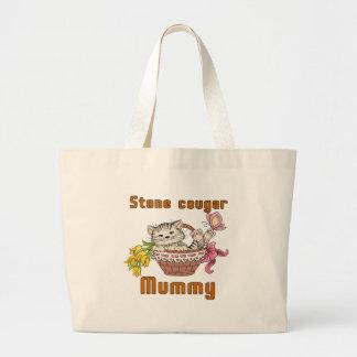 Stone cougar Cat Mom Large Tote Bag