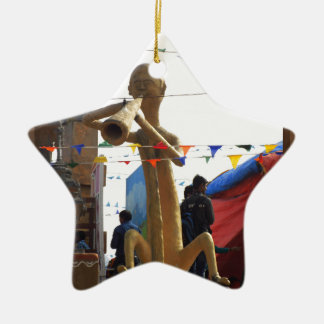 stone craft statue of street musician festivals ceramic star ornament