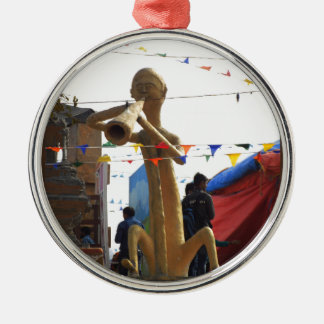 stone craft statue of street musician festivals Silver-Colored round ornament