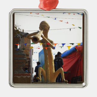 stone craft statue of street musician festivals Silver-Colored square ornament