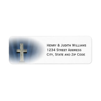 Stone Cross with Rays of Light Return Address Label