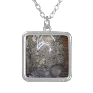 Stone Egg Silver Plated Necklace
