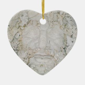 Stone-Face3 Ceramic Heart Ornament