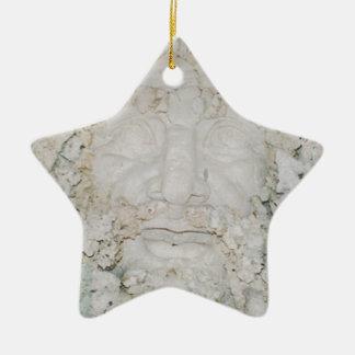Stone-Face3 Ceramic Star Ornament