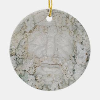 Stone-Face3 Round Ceramic Ornament