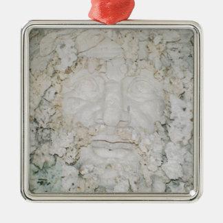 Stone-Face3 Silver-Colored Square Ornament