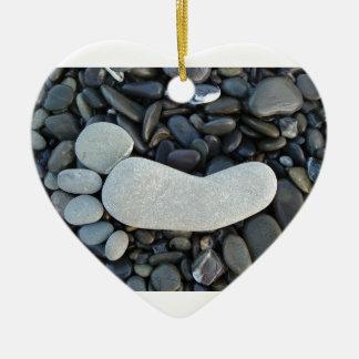 Stone Footprint Ceramic Heart Ornament