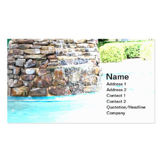 stone fountain for an inground pool business card