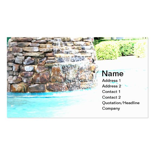 stone fountain for an inground pool business cards