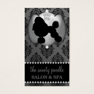 Stone Grey Jeweled Damask Dog Grooming/Spa Business Card