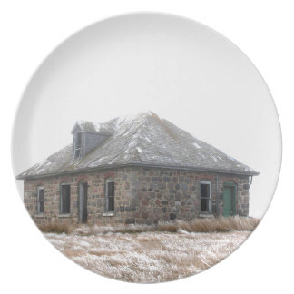 Stone Home abandoned on the prairies Plates