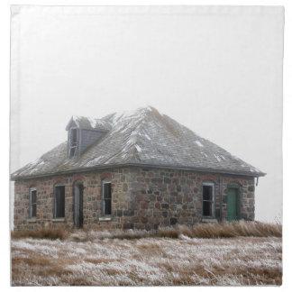 Stone Home abandoned on the prairies Printed Napkin