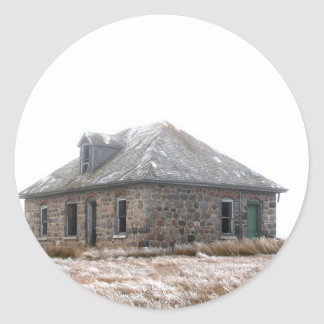 Stone Home abandoned on the prairies Round Sticker