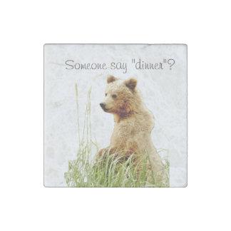 stone magnet w/ grizzly bear cub