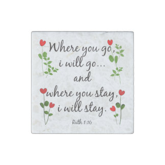 Stone Magnet w Scripture Verse on Marriage (Ruth) Stone Magnets
