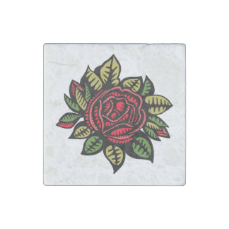 Stone magnet with rose