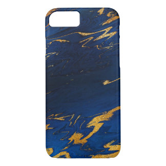 Stone Marble Cobalt Blue Gold Black iPhone Samsung iPhone 8/7 Case