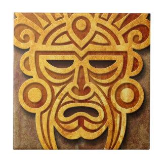 Stone Mayan Mask Tile