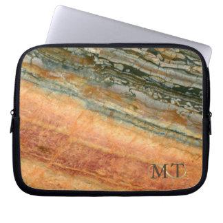 Stone Monogram Marble Orange ID332 Laptop Sleeve