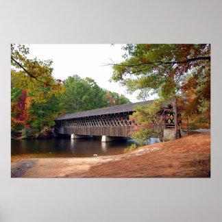 Stone Mountain Covered Bridge At Autumn Season Poster