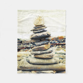 Stone Pile Rocks Beach Nature Fleece Blanket