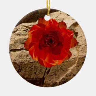 Stone Rose Ceramic Ornament