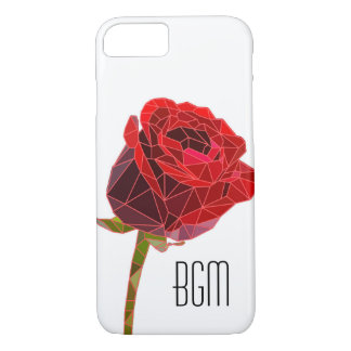 Stone Rose with Monogram iPhone 7 Case