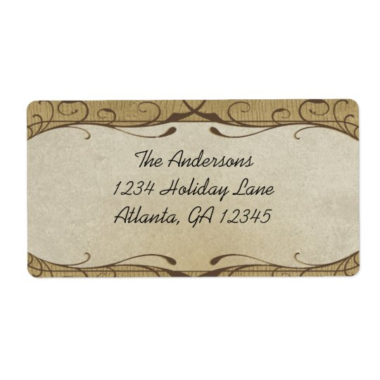 Stone Swirled on Wood Grain Shipping Label