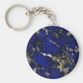 Stone texture: Lapis lazuli Basic Round Button Keychain