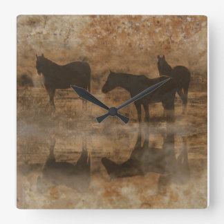 Stone Textured Horses Clock