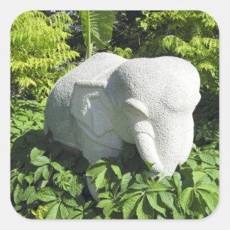 Stone Thai Elephant Square Sticker