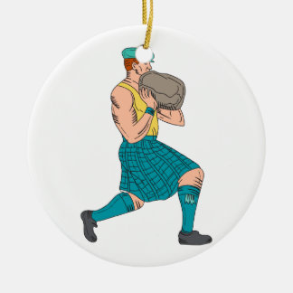 Stone Throw Highland Games Athlete Drawing Ceramic Ornament