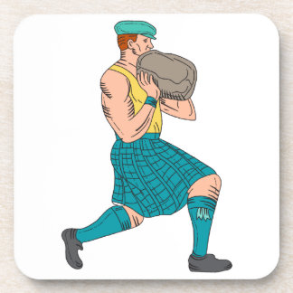 Stone Throw Highland Games Athlete Drawing Drink Coasters