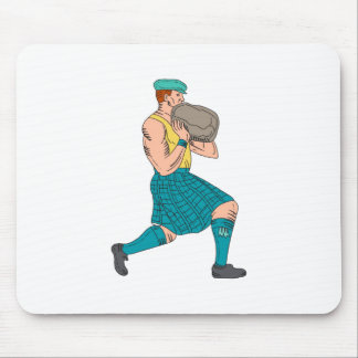 Stone Throw Highland Games Athlete Drawing Mouse Pad